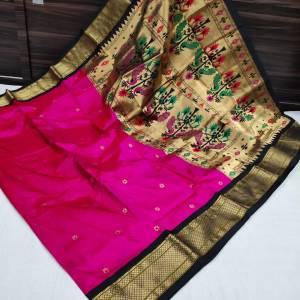 Pure Silk Kadiyal Paithani Saree (Range-4) – Rani Pink