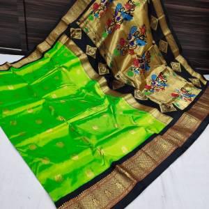 Shreya Kadiyal Silk Paithani Saree – Light Green