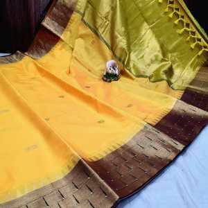 Triple Munyia Designer Sico Paithani Saree – Orange