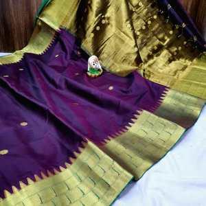 Triple Muniya Designer Sico Paithani Saree – Purple