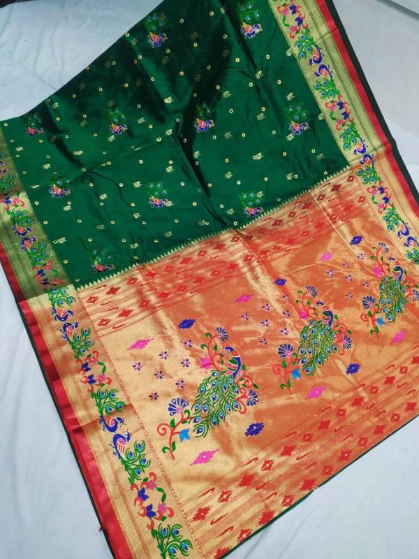 Designer Rich Pallu Brocade Paithani Saree - Dark Green