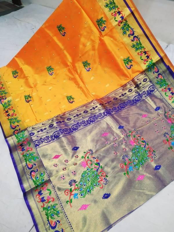 Designer Rich Pallu Brocade Paithani Saree - Yellow