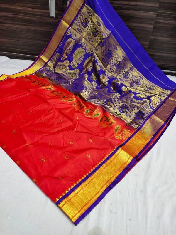 Designer Rich Pallu Semi Paithani Saree (Range-2) - Apple Red
