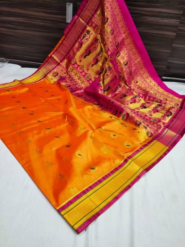 Designer Rich Pallu Semi Paithani Saree - Gold