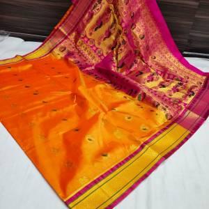 Designer Rich Pallu Semi Paithani Saree