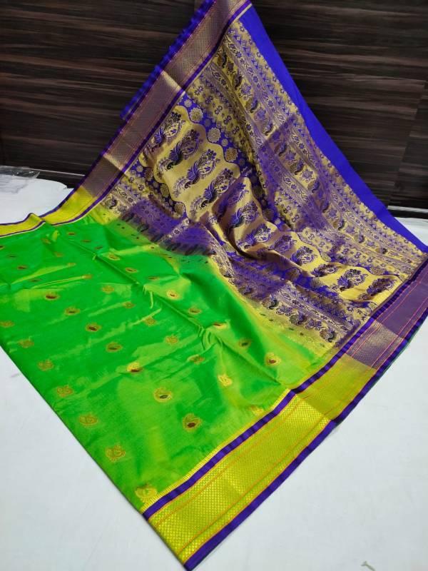 Designer Rich Pallu Semi Paithani Saree (Range 3) - Light Green