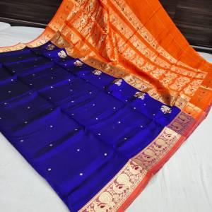 Pure Silk Peshwai Paithani Saree (Range-2) – Navy Blue