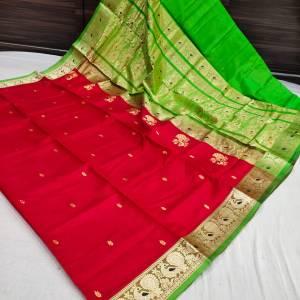 Pure Silk Peshwai Paithani Saree – Red