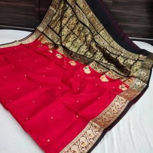 Pure Silk Peshwai Paithani Saree (Range-2) – Apple Red