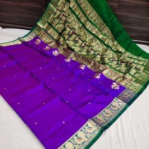 Pure Silk Peshwai Paithani Saree – Voilet