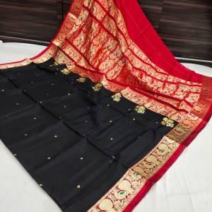Pure Silk Peshwai Paithani Saree (Range-2) – Black