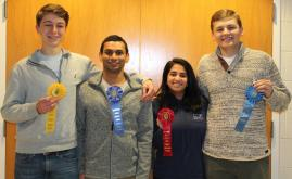 Left to right, Salem High students, Charles Wallace, Shayom Debopadhaya, Maya Reddy and Carson Pugh. Submitted Photo
