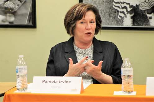 """Pamela Irvine, Feeding America Southwest Virginia CEO """"Feeding America Southwest Virginia has been involved in conversations about technology and accessibility for clients. We are very blessed to receive the generosity from all of our retail partners. We follow the trends of the food industry. We are absolutely committed to doing everything we can to eliminate food deserts."""""""