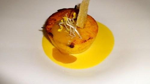 Onion Pie with Saffron and Parmigiano Cheese Fondue.