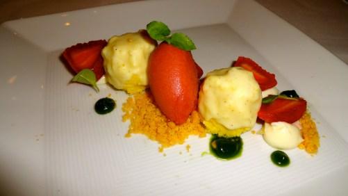 Pepper Chiffon Cake, Poached Strawberries, and Rhubarb Sorbet.
