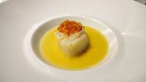 Cod Fish with Olive and Green Tomato sauce and Breadcrumbs.