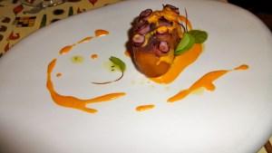 Octopus with Potato Filling and Chorizo Sauce.