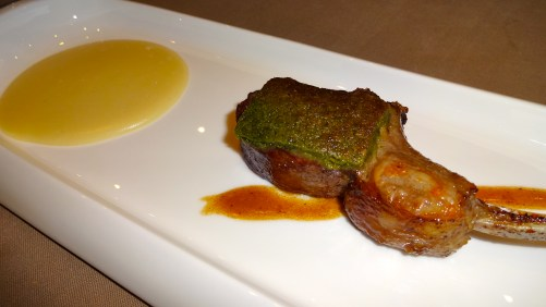 Lamb Chop with Herb Crust and Potato Sauce.