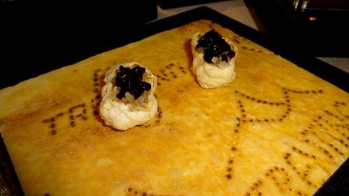 Grana Trentino Cheese Puffs with Balsamic Jelly.
