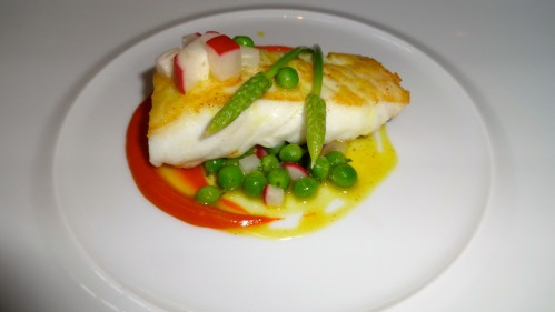 Halibut with Red Curry, Peas, and Radish.