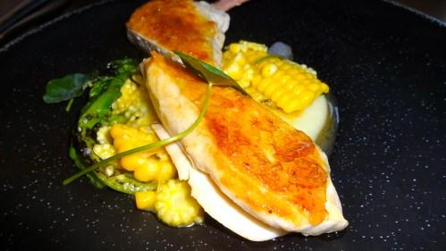 Roast Chicken with Sweet Corn and Smoked Garlic Potato.
