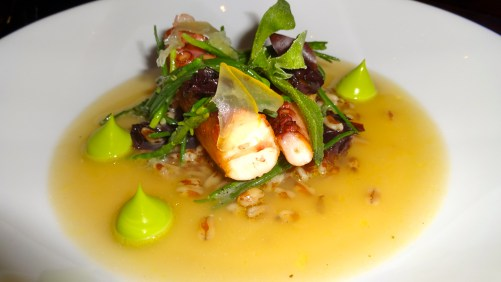 Grilled Octopus with Smoked Sea Broth.