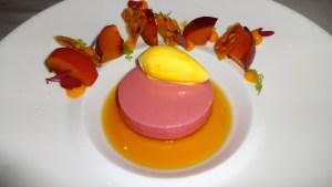 Peach Bavarese with Mango-Mint Gelato, Black Tea Consommé, and Almond Tuile.