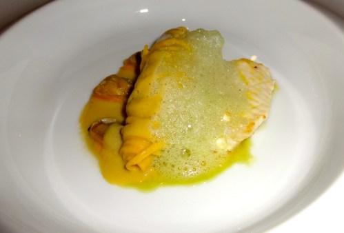 Tagliolini with Clams, Sole Fish, and Tarragon Foam.