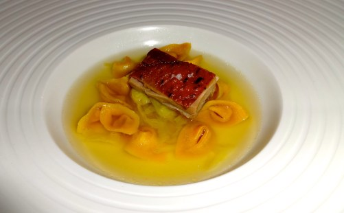 Cappelletti stuffed with Guinea Fowl with Savoy Cabbage and Broth.