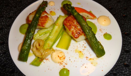 Sea Scallops with Asparagus and Coriander, Marinated Corals and Crustacean Mayonnaise.