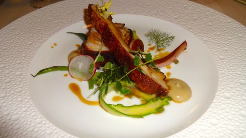 Mora Romagnola Baby Pork with Pickled Chicory, Asparagus, and Green Beans.