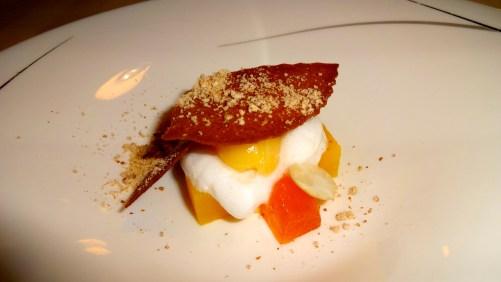 Pre dessert: Compressed Persimmon with Lychee Foam and Mandarin Gelato.