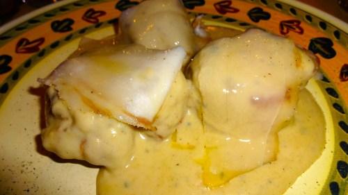 Pork Filet with Lardo and Gorgonzola Sauce.