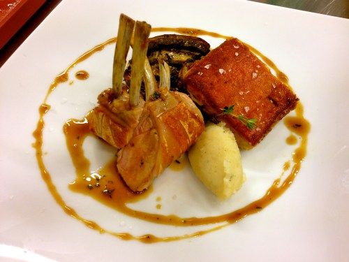 Pork Cooked Two Ways with Potato Purée