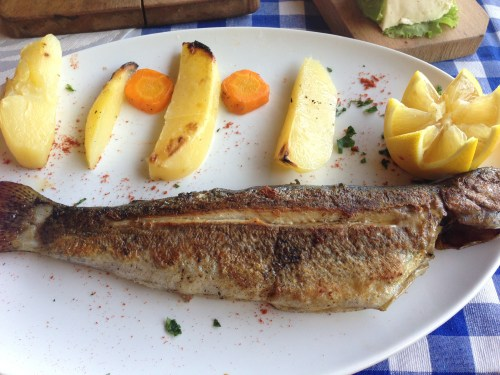 Roasted Trout with Potatoes.