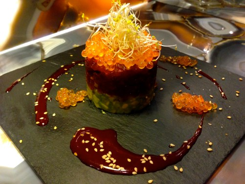 Fish Tartare with Avocado and Hoisin Sauce.