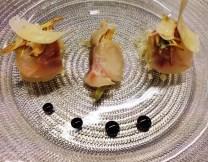 Sea Bass Crudo with Angel Hair Pasta, Artichoke Salad, and Balsamic Reduction.