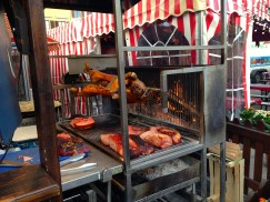 Whole Pig Roasting on a Spit.