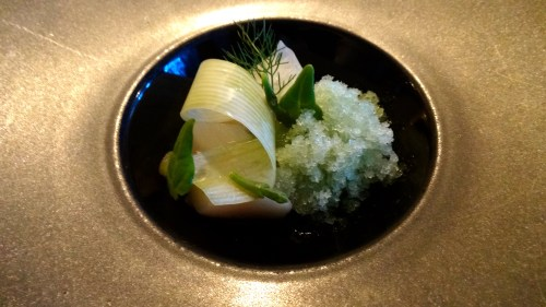 Brined Scallops with Fermented Cucumber, Cucumber Granita, Apple, Dill, and Sea Vegetables (8.5/10).