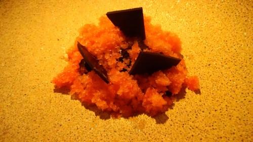 Cara Cara Orange with Dark Chocolate Sable and Coconut Cream.