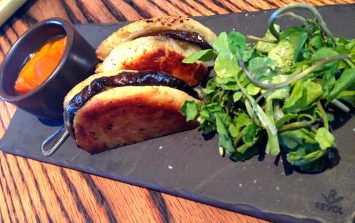 Brioche a la Plancha with Eggplant, Caña de Cabra Cheese, and Stone fruit Preserves (8.5/10).