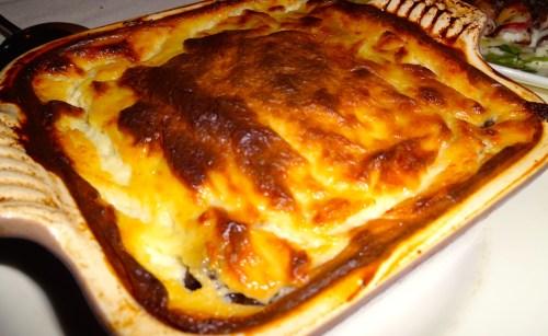 Moussaka: Traditional Casserole of Spiced Lamb, Eggplant, Potato, and Yogurt Béchamel (7/10).