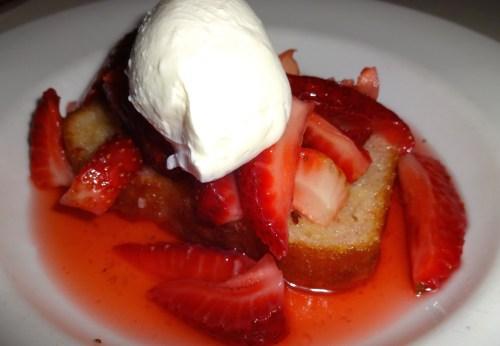 Meyer Lemon Pound Cake with Macerated Strawberries and Yogurt (6.5/10).