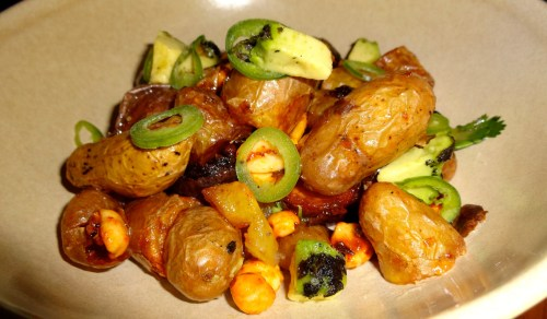 Fingerling Potatoes with Charred Avocado, Peanuts, and Chili (7.5/10).