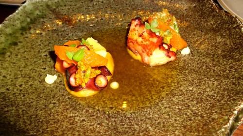 Octopus, Chickpea, Artichoke, Orange, Olive, and Merguez (7/10).