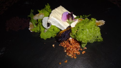 Cheese Platter with Fava Bean Spongecake, Prune, Nuts, and Candied Citrus (8/10).