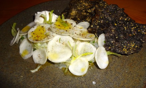 Raw Black Bass with Turnips, Crème Fraîche, and Squid Ink Crackers (8/10).