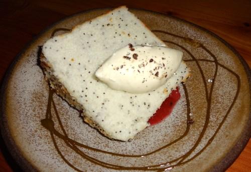 Poppyseed Buddha Cake with Sicilian Pistachio and Mascarpone (7.5-8).