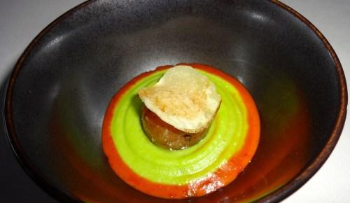 Potato Three Ways: Poached Potato, Potato Chip, and Potato Purée with Chipotle Adobo Sauce (8.5-9/10).