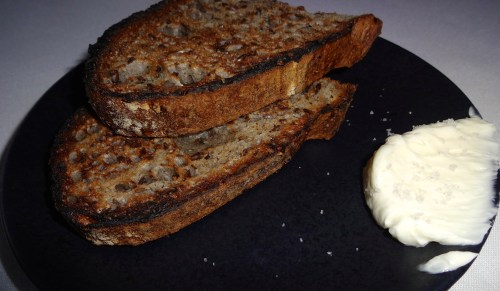 Buckwheat Sourdough Bread with House Cultured Butter (7.5-8/10).
